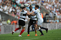 Danny Cipriani of England juggles the ball with Chris Ashton (Toulon & England) and Niyi Adeolokun (Connacht & Ireland) of Barbarians during the Quilter Cup match between England and Barbarians at Twickenham Stadium on Sunday 27th May 2018 (Photo by Rob Munro/Stewart Communications)