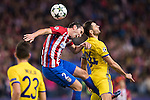 Diego Roberto Godin Leal of Atletico de Madrid fights for the ball with Aleksandr Gatskan of FC Rostov during their 2016-17 UEFA Champions League match between Atletico Madrid and FC Rostov at the Vicente Calderon Stadium on 01 November 2016 in Madrid, Spain. Photo by Diego Gonzalez Souto / Power Sport Images