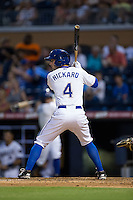 Joey Rickard (4) of the Durham Bulls at bat against the Indianapolis Indians at Durham Bulls Athletic Park on August 4, 2015 in Durham, North Carolina.  The Indians defeated the Bulls 5-1.  (Brian Westerholt/Four Seam Images)