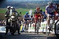 De Ronde van Vlaanderen 2012..Philippe Gilbert having a rough time keeping up with the lead riders