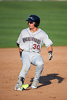 Mahoning Valley Scrappers right fielder Mitch Longo (30) running the bases during a game against the Auburn Doubledays on June 19, 2016 at Falcon Park in Auburn, New York.  Mahoning Valley defeated Auburn 14-3.  (Mike Janes/Four Seam Images)
