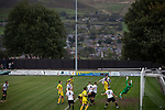 Mossley 4 Pickering Town 1, 26/09/2020. Seel Park, Northern Premier League Division One North West. Visiting striker Ben Clappison equalises in the 25th minute as Mossley take on Pickering Town (in yellow). Formed in 1903, Mossley moved into their current ground in 1912 and have played there ever since. The home team won the match 4-1, watched by a crowd of 400, the maximum number permitted in the ground under COVID-19 social distancing regulations. Photo by Colin McPherson.