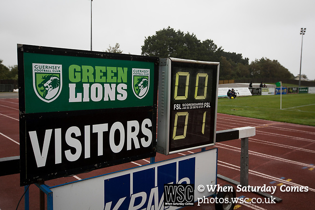 Guernsey 0 Corinthian-Casuals 1, 10/09/2017. Footes Lane, Isthmian League Division One. The stadium scoreboard shows the scoreline late in the second-half as Guernsey take on Corinthian-Casuals in a Isthmian League Division One South match at Footes Lane. Formed in 2011, Guernsey FC are a community club located in St. Peter Port on the island of Guernsey and were promoted to the Isthmian League Division One South in 2013. The visitors from Kingston upon Thames won the fixture by 1-0, watched by a crowd of 614 spectators. Photo by Colin McPherson.