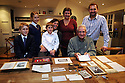 The Vinall family, Surrey, with collects and memorabiliar of Bombadier George Hever Vinall who made headlines in WW1 when a shrapnel bullet lodged itself in his bible. Photo by Clare Kendall.
