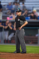Umpire Anthony Perez during a game between the State College Spikes and Auburn Doubledays on July 6, 2015 at Falcon Park in Auburn, New York.  State College defeated Auburn 9-7.  (Mike Janes/Four Seam Images)