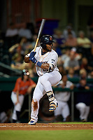 Bowling Green Hot Rods right fielder Moises Gomez (21) at bat during a game against the Peoria Chiefs on September 15, 2018 at Bowling Green Ballpark in Bowling Green, Kentucky.  Bowling Green defeated Peoria 6-1.  (Mike Janes/Four Seam Images)
