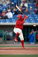 Clearwater Threshers designated hitter Wilson Garcia (10) at bat during a game against the Dunedin Blue Jays on April 7, 2017 at Spectrum Field in Clearwater, Florida.  Dunedin defeated Clearwater 7-4.  (Mike Janes/Four Seam Images)