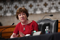 United States Senator Susan Collins (Republican of Maine), of the Senate Health, Education, Labor and Pensions (HELP) Committee, asks questions during a hearing on Capitol Hill in Washington DC on Tuesday, June 30, 2020.  Dr. Anthony Fauci, director of the National Institute for Allergy and Infectious Diseases, and other government health officials updated the Senate on how to safely get back to school and the workplace during the COVID-19 pandemic.<br /> Credit: Kevin Dietsch/CNP/AdMedia