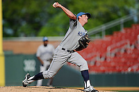 Starting pitcher Zach Jemiola (27) of the Asheville Tourists delivers a pitch in a game against the Greenville Drive on Wednesday, April 23, 2014, at Fluor Field at the West End in Greenville, South Carolina. Greenville won, 6-0. (Tom Priddy/Four Seam Images)