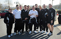 Pictured: Swansea City Football Club manager Brendan Rodgers (C) has been awarded the Manager of the Month Award by the npower Football League. He is pictured with his coaching staff. Friday 04 February 2011
