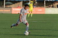 HARTFORD, CT - JULY 10: Matty Acosta #63 of New York Red Bulls II passes the ball during a game between New York Red Bulls II and Hartford Athletics at Dillon Stadium on July 10, 2021 in Hartford, Connecticut.