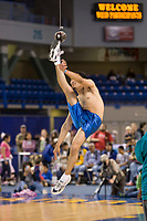 One foot high kick at the 2008 World Eskimo Indian Olympics held in Fairbanks, Alaska. Years ago, when a messenger from a hunting or whaling crew is within visual distance of the villagers, he will kick high into the air thereby giving a message that a whale has been shot, or the caribou are running near.
