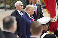 United States President Donald J Trump, US Vice President Mike Pence, and First lady Melania Trump commemorate Memorial Day by participating in a Wreath Laying ceremony the Tomb of the Unknown Soldiers at Arlington National Cemetery in Arlington, Virginia on Monday, May 25, 2020.<br /> Credit: Chris Kleponis / Pool via CNP/AdMedia