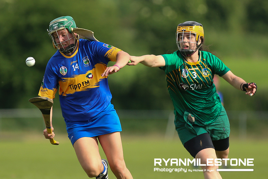 Tipperary's Cait Devane in action against Claire Coffey of Meath during the Liberty Insurance All Ireland Senior Camogie Championship Round 1 between Tipperary and Meath at the Ragg, Co Tipperary. Photo By Michael P Ryan.