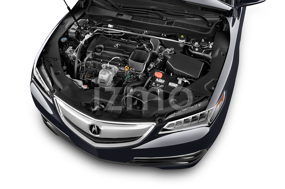 Car stock 2015-2017 Acura TLX Technology 4 Door Sedan engine high angle detail view
