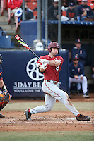 Quinn Brodey #24 of the Stanford Cardinal bats against the Cal State Fullerton Titans at Goodwin Field on February 19, 2017 in Fullerton, California. Stanford defeated Cal State Fullerton, 8-7. (Larry Goren/Four Seam Images)