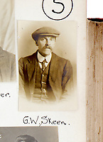 BNPS.co.uk (01202) 558833<br /> Pic: ChiswickAuctions/BNPS<br /> <br /> Pictured: A moustachioed G.W.Skeen poses for his mug shot <br /> <br /> The London Peaky Blinders<br /> <br /> A collection of remarkably rare Victorian mugshots used by police to identify London's gangs has emerged for sale more than 120 years later.<br /> <br /> The photographic album compiled between 1895 and 1916 has portraits of hundreds of men known to forces in south and east London.<br /> <br /> Dressed in sharp suits and caps reminiscent of the Peaky Blinders, it is thought many were involved in organised crime and racketeering.