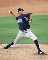 New Orleans Zephyrs Pitcher Nelson Figueroa on Sunday June 1st at Dell Diamond in Round Rock, Texas. Photo by Andrew Woolley / Four Seam Images.