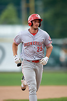 Greeneville Reds left fielder Brandt Stallings (25) rounds the bases after hitting a home run in the top of the second inning during the second game of a doubleheader against the Princeton Rays on July 25, 2018 at Hunnicutt Field in Princeton, West Virginia.  Greeneville defeated Princeton 8-7.  (Mike Janes/Four Seam Images)