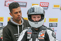 Tom Neave of the Neave Twins team (No. 68) after winning the Pirelli National Superstock 600 Championship race at the 2017 BSB Round 6 - Brands Hatch GP Circuit at Brands Hatch, Longfield, England on Sunday 23 July 2017. Photo by David Horn/PRiME Media Images