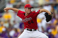 Stony Brook Seawolves pitcher Tyler Johnson #44 delivers a pitch during the NCAA Super Regional baseball game against LSU on June 9, 2012 at Alex Box Stadium in Baton Rouge, Louisiana. Stony Brook defeated LSU 3-1. (Andrew Woolley/Four Seam Images)