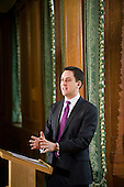 Labour Party leader Ed Miliband gives the first of his planned monthly press conferences, Westminster, London.