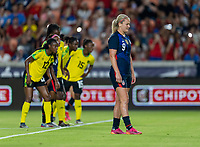 HOUSTON, TX - JUNE 13: Lindsey Horan #9 of the USWNT gets ready for a penalty kick during a game between Jamaica and USWNT at BBVA Stadium on June 13, 2021 in Houston, Texas.