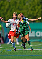 26 August 2012: University of Vermont Catamount forward Ellie Mills (3) works to maintain possession against backfielder Jessica Broadbent (5) during game action against the Fairfield University Stags at Virtue Field in Burlington, Vermont. The Stags defeated the Lady Cats 1-0. Mandatory Credit: Ed Wolfstein Photo