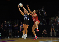 NZ's Sam Winders and England's Laura Malcolm compete for the ball during the Cadbury Netball Series Taini Jamison Trophy match between New Zealand Silver Ferns and England Roses at Claudelands Arena in Hamilton, New Zealand on Wednesday, 28 October 2020. Photo: Dave Lintott / lintottphoto.co.nz