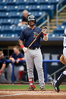Lowell Spinners first baseman Trey Ganns (28) at bat during a game against the Staten Island Yankees on August 22, 2018 at Richmond County Bank Ballpark in Staten Island, New York.  Staten Island defeated Lowell 10-4.  (Mike Janes/Four Seam Images)