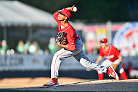 Lakewood BlueClaws starting pitcher Felix Paulino (34) delivers a pitch during a game against the Asheville Tourists at McCormick Field on June 2, 2017 in Asheville, North Carolina. The Tourists defeated the BlueClaws 7-5. (Tony Farlow/Four Seam Images)