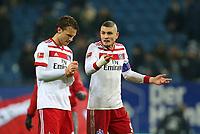 09.12.2017, Football 1. Bundesliga 2017/2018, 15.  match day, Hamburger SV - VfL Wolfsburg, Volksparkstadium Hamburg.  Albin Ekdal (Hamburg) and Kyriakos Papadopoulos (Hamburg)  *** Local Caption *** © pixathlon<br /> <br /> +++ NED + SUI out !!! +++<br /> Contact: +49-40-22 63 02 60 , info@pixathlon.de