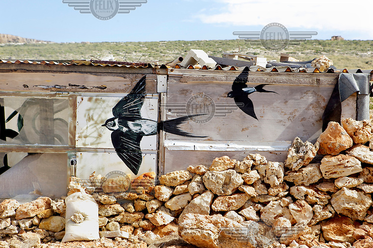 Art produced by artist Lucy McLauchlan of the collective 'Ghost of Gone Birds' on a hunter's hide.  The images are of herons, spoonbill and turtle doves.Under EU leglislation, hunting or trapping birds in spring is illegal but the government of Malta, which joined the EU in 2004, allows hunting of turtle dove and quail at this time of year. Some 170 species of bird pass over Malta during the spring and autumn migration periods. Hunters regularly shoot other species including birds of prey which are stuffed for private collection. Spring Watch Malta is a conservation camp run by BirdLife Malta, a non-profit which lobbies against bird hunting in the country. In 2012, fifty volunteers from across Europe converged on a tourist hotel in Bugibba in northern Malta and fanned out to track migrating birds and monitor any illegal spring hunting by the 11,000 permitted hunters.....