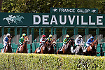 August 15, 2021, Deauville (France) - The field exits the starting gate at the start of the Prix Gontaut-BrionHong Kong Jockey Club (Gr. III) at the Deauville Racecourse. [Copyright (c) Sandra Scherning/Eclipse Sportswire)]