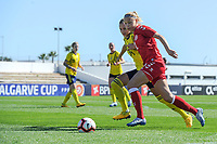 20200307  Lagos , Portugal : Danish forward Stine Larsen (12) , Swedish Nathalie Bjorn (14) pictured during the female football game between the national teams of Sweden and Denmark on the second matchday of the Algarve Cup 2020 , a prestigious friendly womensoccer tournament in Portugal , on saturday 7 th March 2020 in Lagos , Portugal . PHOTO SPORTPIX.BE | STIJN AUDOOREN