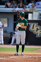 Siena Saints first baseman Evan St. Claire (8) at bat during a game against the UCF Knights on February 17, 2019 at John Euliano Park in Orlando, Florida.  UCF defeated Siena 7-1.  (Mike Janes/Four Seam Images)