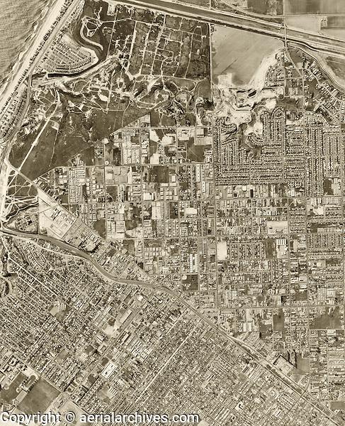 historical aerial photograph Costa Mesa, California, 1963