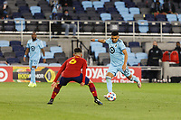 SAINT PAUL, MN - APRIL 24: Emanuel Reynoso #10 of Minnesota United FC and Pablo Ruiz #6 of Real Salt Lake battle for the ball during a game between Real Salt Lake and Minnesota United FC at Allianz Field on April 24, 2021 in Saint Paul, Minnesota.