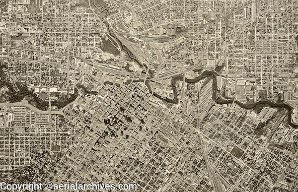 historical aerial photograph Houston, Texas, 1953