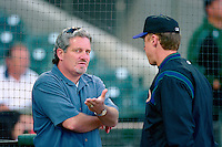 SAN FRANCISCO, CA - General Manager Brian Sabean of the San Francisco Giants talks on the field before a game at Pacific Bell Park in San Francisco, California in 2001. Photo by Brad Mangin