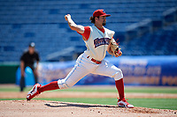 Clearwater Threshers starting pitcher Connor Seabold (35) delivers a pitch during a game against the Jupiter Hammerheads on April 11, 2018 at Spectrum Field in Clearwater, Florida.  Jupiter defeated Clearwater 6-4.  (Mike Janes/Four Seam Images)