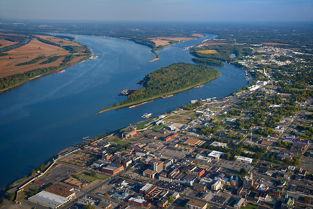 Confluence of Tennessee and Ohio Rivers at Paducah
