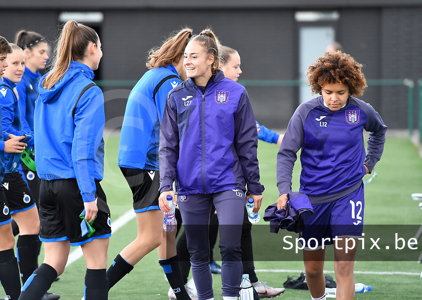 Tessa Wullaert (27 Anderlecht) and Kassandra Missipo (12 Anderlecht) pictured during warming up of a female soccer game between Club Brugge Dames YLA and RSC Anderlecht Ladies on the fifth matchday of the 2020 - 2021 season of Belgian Scooore Womens Super League , sunday 18 October 2020  in Brugge , Belgium . PHOTO SPORTPIX.BE | SPP | DAVID CATRY
