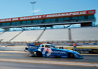 Jul 12, 2020; Clermont, Indiana, USA; NHRA funny car driver Matt Hagan during the E3 Spark Plugs Nationals at Lucas Oil Raceway. This is the first race back for NHRA since the start of the COVID-19 global pandemic. Mandatory Credit: Mark J. Rebilas-USA TODAY Sports
