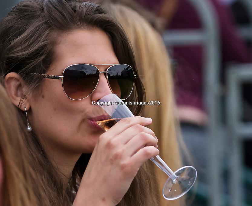 London, England, 28 june, 2016, Tennis, Wimbledon, Fan drinking champagne<br /> Photo: Henk Koster/tennisimages.com