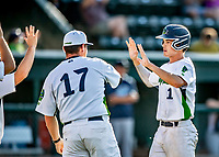 12 June 2021: Vermont Lake Monsters outfielder Andrew Bergeron, from Ponte Verda Beach, FL, celebrates scoring the first run of the game in the first inning against the Westfield Starfires at Centennial Field in Burlington, Vermont. The Lake Monsters defeated the Starfires 4-1 at Centennial Field, in Burlington, Vermont. Mandatory Credit: Ed Wolfstein Photo *** RAW (NEF) Image File Available ***