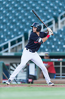 AZL Indians 1 third baseman Daniel Schneemann (15) at bat during an Arizona League playoff game against the AZL Rangers at Goodyear Ballpark on August 28, 2018 in Goodyear, Arizona. The AZL Rangers defeated the AZL Indians 1 7-4. (Zachary Lucy/Four Seam Images)
