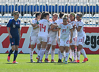 20190306 - LARNACA , CYPRUS : Hungarian players pictured celebrating their goal and the 1-1 equalizer during a women's soccer game between Slovakia and Hungary , on Wednesday 6 th March 2019 at the Antonis Papadopoulos stadium in Larnaca , Cyprus . This last game for both teams which decides for places 11 and 12 of the Cyprus Womens Cup 2019 , a prestigious women soccer tournament as a preparation on the Uefa Women's Euro 2021 qualification duels. PHOTO SPORTPIX.BE | DAVID CATRY