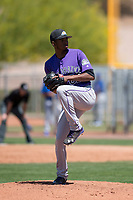 Colorado Rockies relief pitcher Jeffrey Valdez (62) prepares to deliver a pitch during an Extended Spring Training game against the Chicago Cubs at Sloan Park on April 17, 2018 in Mesa, Arizona. (Zachary Lucy/Four Seam Images)