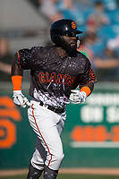 San Jose Giants left fielder Jacob Heyward (33) jogs to first base after being walked during a California League game against the Lancaster JetHawks at San Jose Municipal Stadium on May 12, 2018 in San Jose, California. Lancaster defeated San Jose 7-6. (Zachary Lucy/Four Seam Images)
